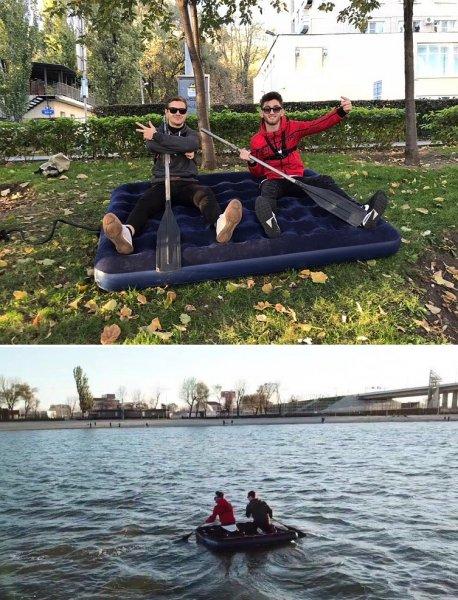 Жители Ростова переплыли Дон на матрасе всего за девять минут
