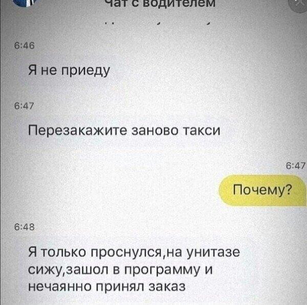 «Я только проснулся»: Таксист из Курска отшил клиента из-за бодуна и «дел» на унитазе