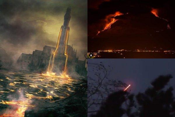 Нибиру взрывает Землю: Очевидцы засняли эвакуацию НЛО перед извержением Этны