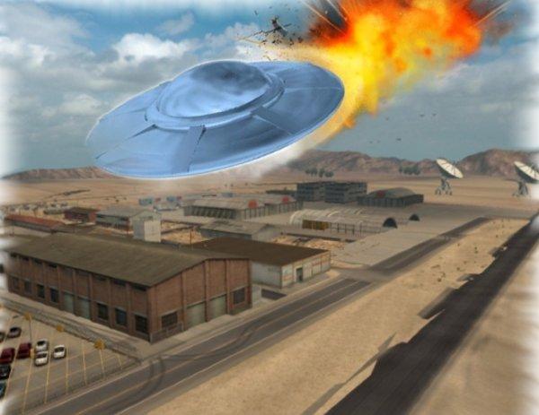 4 пришельца погибли: Над Зоной 51 засняли крушение НЛО